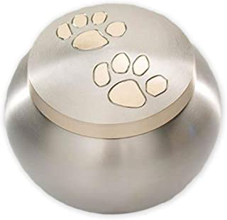 Beautiful Life Urns Pawsitively Cherished Pet Urn - Unique Cremation Urns for Pets, Large, Pewter/Gold
