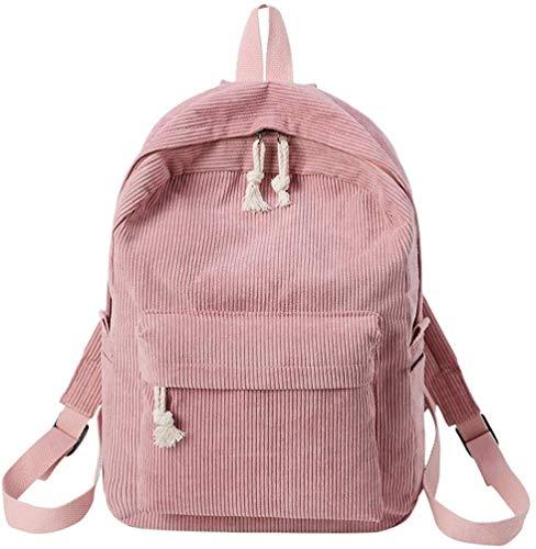 Mochilas suaves para mujer y niñas, estilo vintage, de pana sólida, lisas, para estudiantes, mochila a rayas (rosa, 11.02 (largo) x 4.72 (ancho) x 15.75.0 (alto)