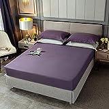 haiba Sábana bajera lisa de alta calidad, suave y acogedora, sábana de cama tamaño king, 150 x 200 x 25 cm.