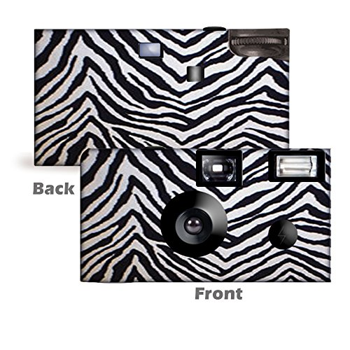 Great Features Of 5 Zebra Custom Disposable Cameras, Can be Personalized, Single use, Party