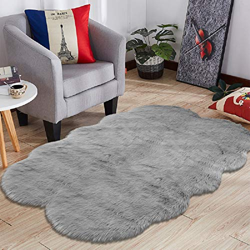 HEBE Large Faux Fur Sheepskin Area Rugs 4ft x 6ft Luxury Fluffy Rugs Bedroom Furry Carpet Bedside Children Play Princess Room Decor Rug, Grey