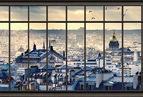 Fotobehang Panorama, Trompe-l' motief, Parijs, Scenolia