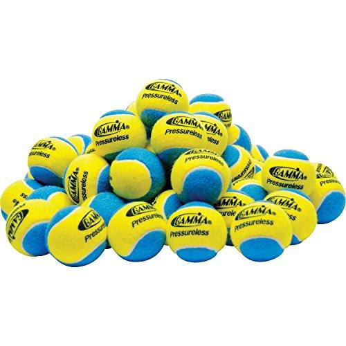 Gamma Sports Pressureless Practice Tennis Balls, Yellow/Blue - Pack of 60