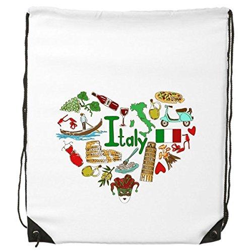 Italia amor corazón paisaje Customs Landmark animales Nacional Bandera residente dieta ilustración patrón cordón mochila líneas finas Shopping creativa medio ambiente poliéster bolsa de hombro bolso