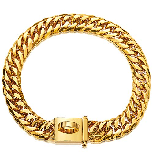 "Gold Dog Chain Collar Walking Metal Choke Collar with Design Secure Buckle, 18K Cuban Link Utra Strong Heavy Duty Chew Proof for Medium Dogs American Pitbull German Shepherd (16MM, 16"")"
