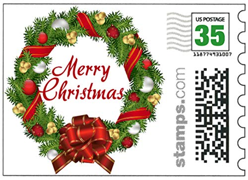 USPS Merry Christmas Stamps - Sheet of 20 Postcard Rate Stamps