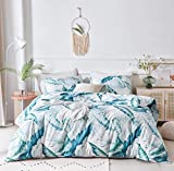 SUSYBAO 3 Piece Duvet Cover Set 100% Cotton King Size Blue Green Banana Leaves Print Bedding Set 1 Tropical Botanical Duvet Cover with Zipper Ties 2 Pillowcases Luxury Quality Soft Comfortable Durable
