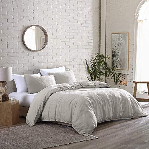 Brielle Home Billie Solid Garment Washed 100% Cotton Jacquard Stripe Comforter Set, Linen, Full/Queen