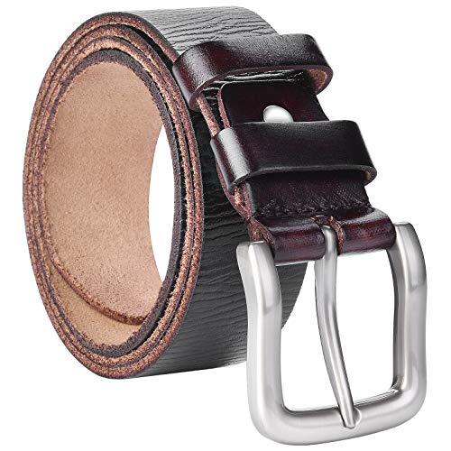 VRLEGEND Cinturones Hombre Cuero Cinturon Jeans Casual Retro 3.8CM,Negro & Marrón (110cm, Marrón)
