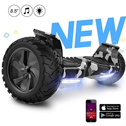 GeekMe Elektro Scooter All Terrain 8,5 Zoll Self Balance E-Scooter mit Bluetooth-App leistungsstarker LED-Motorbeleuchtung für Erwachsene und Kinder