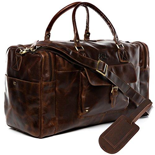 SID & VAIN borsa viaggio tracolla vera pelle vintage YALE grande borsone bagaglio a mano sportiva duffle bag weekend uomo cuoio marrone