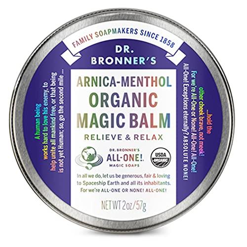 Dr. Bronner's - Bio-Magic-Balsam (Arnika-Menthol, 57 ml) – hergestellt mit Bio-Bienenwachs und Bio-Hanföl, lindert und entspannt schmerzende Muskeln und schmerzende Gelenke, spendet Feuchtigkeit und beruhigt trockene Haut.