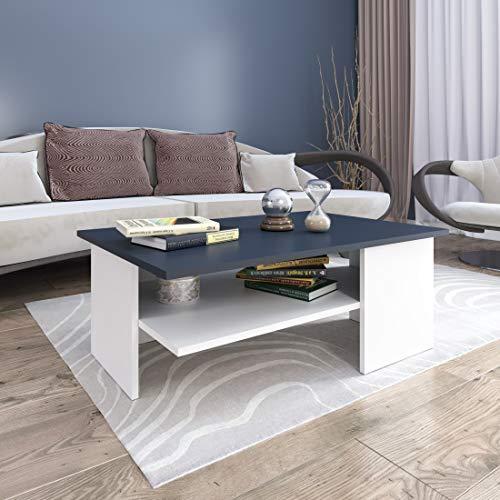 GLmeble - Couchtisch für das Wohnzimmer, Hochwertiges, Modernes Design Couchtische für die Einrichtung von Heimbüros (Kaffee - Weiß, Typ 3)