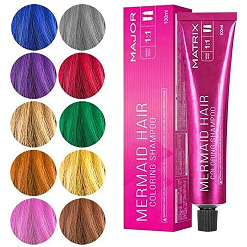Mermaid Hair Coloring Shampoo,3-in-1 Hair Coloring Shampoo,Professional Color Depositing Conditioner,Cosplay Birthday Makeup DIY Party Multiple Colour Red Wine
