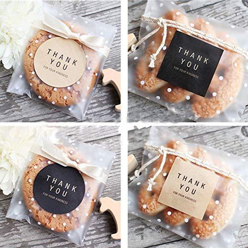 Label Dank U Ronde Vierkante Zwarte Kraft Papier Kleur Afdichting Plakken Bakken Koekje Tas Decoratieve Afdichting Sticker60stks/10 Vellen
