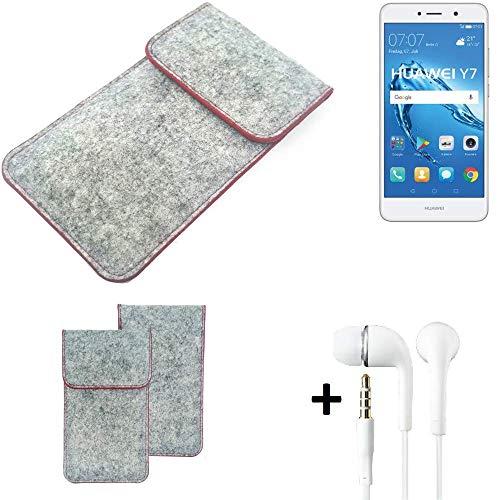 K-S-Trade® Handy Schutz Hülle Für Huawei Y7 Dual SIM Schutzhülle Handyhülle Filztasche Pouch Tasche Hülle Sleeve Filzhülle Hellgrau Roter Rand + Kopfhörer