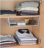 FASTUNBOX (LABEL) Under Shelf Basket Kitchen Storage Bin Under Shelf Wire Rack Cabinet Basket Organizer Cup Holder sapce saver (Color White & Black)(1 piece)