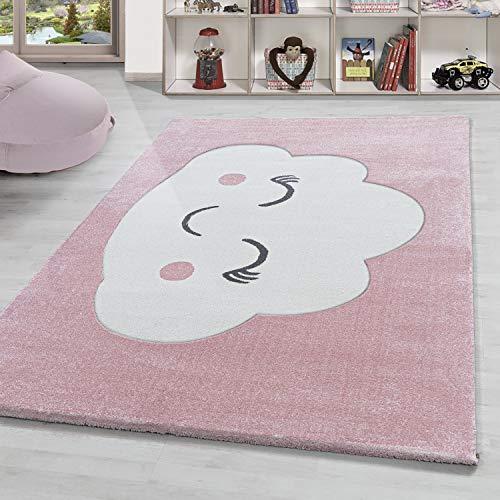 Kinderteppich Happy Wolke Kurzflor Kinderzimmer Babyzimmerteppich Rosa Weiss, Grösse:120x170 cm, Farbe:Rose