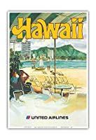 ハワイ - ワイキキ - ユナイテッド航空 - ビンテージな航空会社のポスター によって作成された c.1970s - アートポスター - 33cm x 48cm