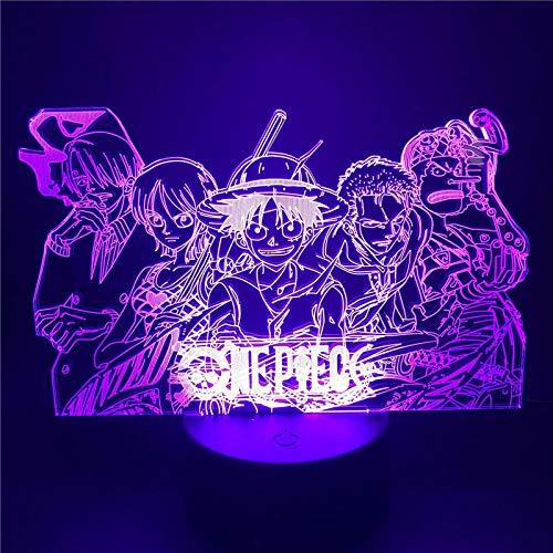 Sanji Zoro Nami - Lámpara de noche 3D de anime, ilusión LED, figura de acción óptica, decoración de dormitorio, control táctil