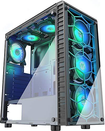 MUSETEX 6 RGB Fans Pre-Installed,USB 3.0,2 Translucent Tempered Glass ATX Mid-Tower Chassis Gaming PC Case Cable Management/Airflow Gaming Style Windows Computer Case