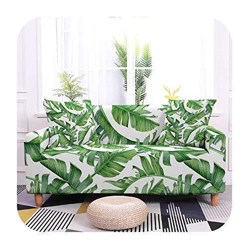 Funda elástica para sofá con hojas tropicales, de 17 a 3 plazas, 190 a 230 cm