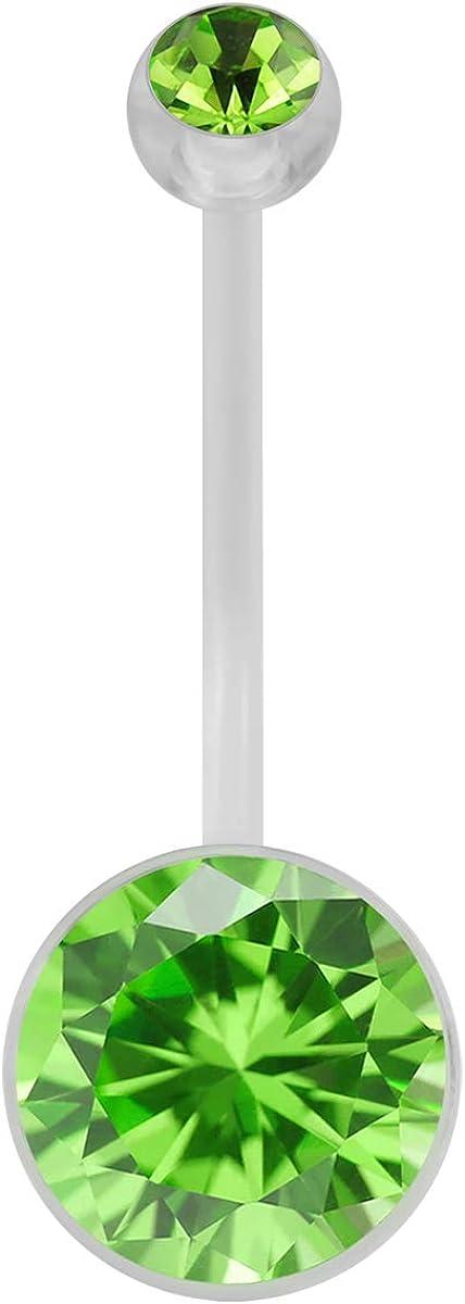 AtoZ Piercing Round CZ Stone Clear PTFE Bio Flex Plast Pregnancy Belly Button Ring Jewelry