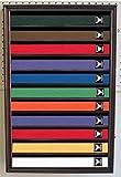 Martial Art/Karate/Taekwondo Belt Display Case Rack Wall Cabinet, with Door to Prevent Dust (Mahogany Finish)