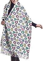 ゴールドのヴィンテージ懐中時計とローズウィメンズ秋冬タッセルスカーフウォームソフトチャンキーラージブランケットラップショールスカーフ-宝石とダイヤモンド