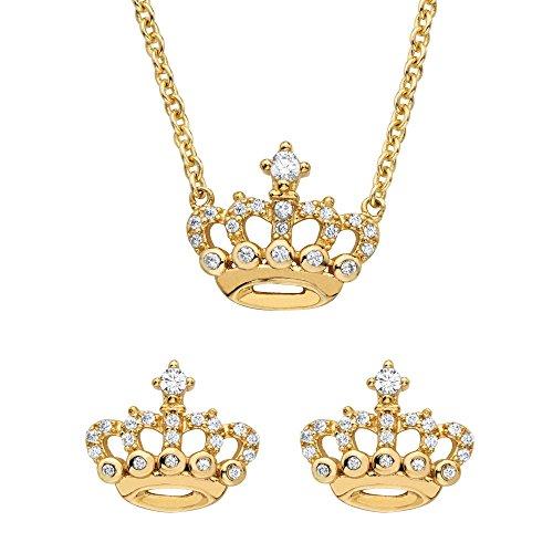 14K金超过纯银皇冠耳环和项链套装,立方氧化锆,18