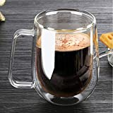Nutmeg Coffee Mugs,【250ML/8OZ】 Glass Coffee Cups Double Walled Anti-scalding Insulated Espresso Cups Cappuccino Clear Mugs