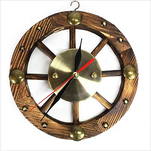 JPVGIA Reloj de Pared de Madera Reloj Ultra silencioso Rueda Creativa Reloj de Madera Maciza, Regalo de decoración para el hogar - Diámetro 25 cm