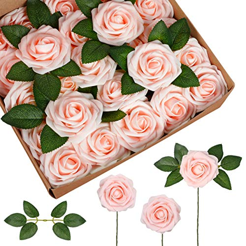 InnoGear Artificial Flowers, 25 Pcs Faux Flowers Fake Flowers Blush Roses Perfect for DIY Wedding Bouquets Centerpieces Bridal Shower Party Home Flower Arrangement Decorations