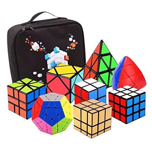 HXGL-Cubos Mágicos Cubo De Velocidad Conjunto Cubo Mágico Juego De Puzzle 2x2x2 3x3x3 Pyramorphix SQ1 Inclinación Pirámide Espejo Megaminx Cubo Conjunto Educativo Juguetes For Niños