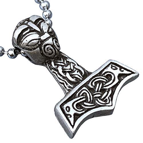 Viking Thor Jewelry Mjölnir Mjolnir Swedish Scandinavian Bald headed Thor's hammer Pagan Celtic Pewter Men's Pendant Norse Necklace Wealth Travel Talisman Charm Protection Amulet men Silver Ball Chain