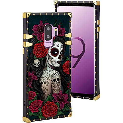 chenchen Case for Samsung Galaxy S9 Plus (2018) [6.2 Inch] Sugar Skull Girl Pattern for Girls and Women