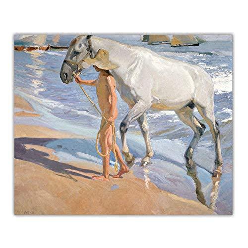 HJKLP Joaquin Sorolla《Il Bagno del Cavallo》Canvas Art Oil Painting Opera d'Arte Quadro della...