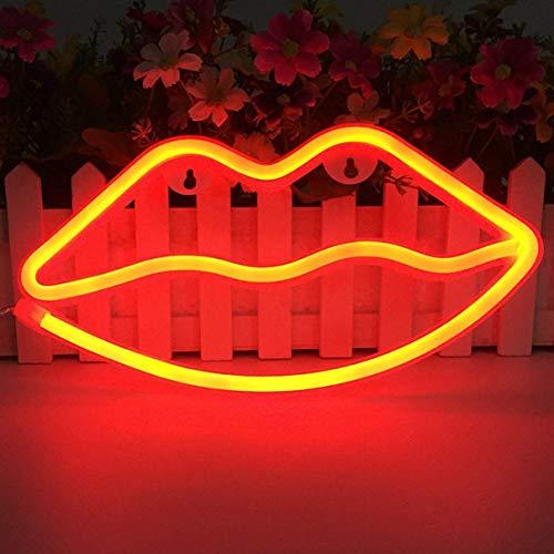 LED Lips en forma de letreros de neón Arte romántico Luces decorativas Decoración de la pared para Studio Party Habitación de los niños Sala de estar Fiesta de bodas Decoración de Navidad (Rojo)