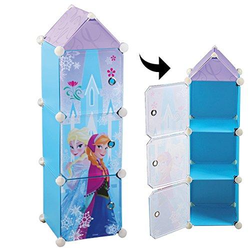Fun House 712507 REINE DES NEIGES Colonne 3 casiers pour enfant, Polypropylène, Bleu, 26 x 26 x 98 cm