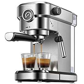 Yabano Espresso Machine, Compact Espresso Maker with Milk Frother Wand, 15 Bar Professional Coffee Machine for Espresso… 1 HIGH PRESSURE ESPRESSO MACHINE - Yabano espresso machine with 15 bar pressure, easy to use, you can be a barista and brew favourite espresso at home. PRESSURE GAUGES - Built in pressure gauges, you can know the accurate pressure and help you in consistently brewing great Espresso. BUILTED IN STEAM WAND - Espresso maker comes with steam wand, you can enjoy cappuccino and latte with creamy and rich foam at any time at home!