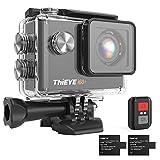 ThiEYE Action Cam 4K 30fps WiFi 20MP, 170 ° Weitwinkel Full HD, 2,0 '' LCD Hd-Bildschirmkamera, Videokamera 60M Wasserdicht Unter Wasser, 2.4G Fernbedienung, Zwei 1050mah Batterien -