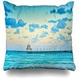 Caribbean Blue Exotic Beach Paradise Travel Tourism Vacations Naturaleza Cancún Parks Mujeres Wide Premium Fundas de almohada para viajes largos, escapadas cortas, 45 x 45 cm