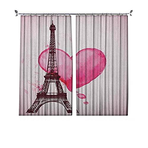 Cortina para oscurecer la habitación de la Torre Eiffel, romántica de San Valentín, con diseño de silueta de hoja de corazón, para dormitorio, sala de estar, 52 x 63 pulgadas, color marrón fucsia