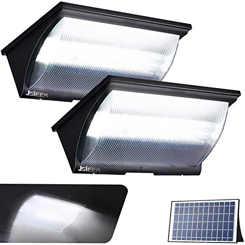 Solar Flood Lights Outdoor Solar Powered Lights Security Solar Dusk to Dawn Lighting with Motion Sensor 1200LM Jsieem 2 Pack Black