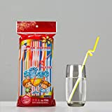Taohou Directo de fábrica Doble Color de los niños Forma de Paja Arte Paja Codo Largo Jugo Bebida Paja 100 palos-2-color