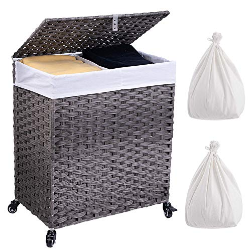 Crehomfy Laundry Hamper with Wheels and 2 Liner Bags Synthetic Rattan Wicker Handwoven Laundry Basket with Lid and Handle Foldable Dirty Clothes Hamper for Laundry Room Living Room Gray 2 Section