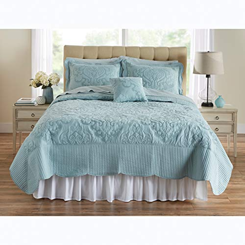 BrylaneHome Amelia Quilt - King, Seaglass