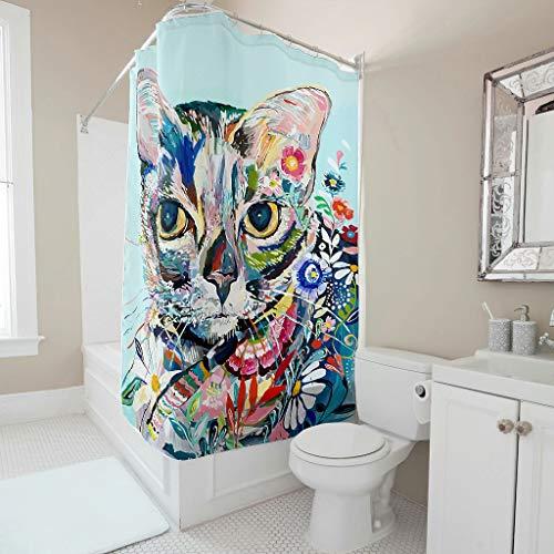 Toomjie Duschvorhang mit Haken wasserdichtes Polyester langlebig Badezimmerzubehör für Wohnung & Zuhause White 150x200cm