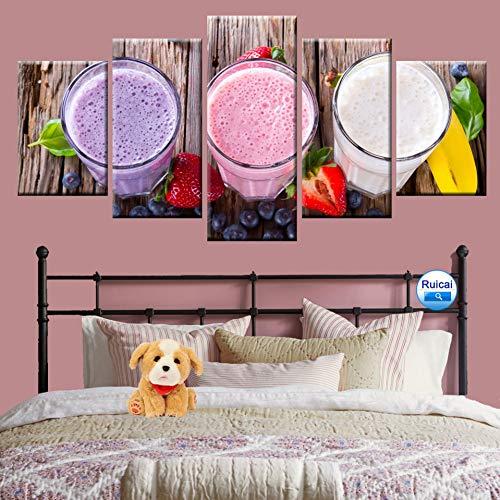 KDSFHLL Fünf-Tafel-Dekorationsmalerei 5 Stücke Moderne Dekoration Wandkunst Bild Frische Saft Poster Küche Dekoration Hd Druck Leinwand Malerei