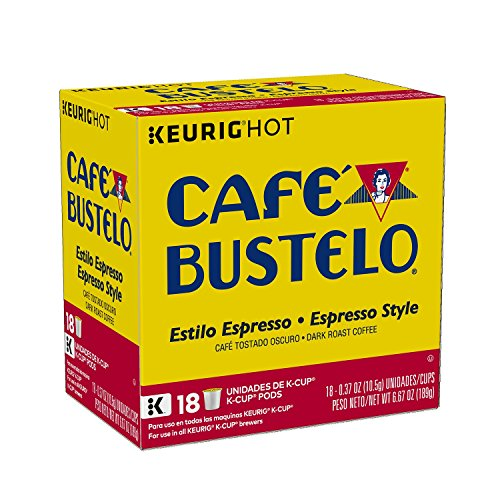 Café Bustelo Espresso Style K-Cup Pods for Keurig K-Cup Brewers, Dark Roast Coffee, 18 Count